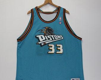 a4979443496 Vintage Grant Hill Detroit Pistons Reversible Champion Jersey Size 52 XXL