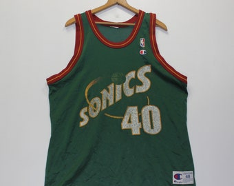 5ba9d806ecf Vintage Shawn Kemp Seattle Supersonics Champion Jersey Size 48 XL