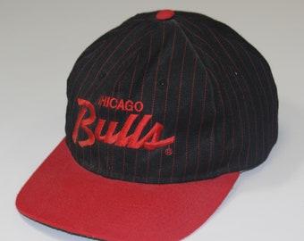 new concept 7c552 470a9 Vintage Chicago Bulls Script Logo Pinstripe Sports Specialties Snapback Hat