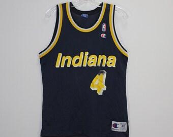 03e7cc275edd Vintage Travis Best Indiana Pacers NBA Champion Jersey Size 40 Blue Yellow