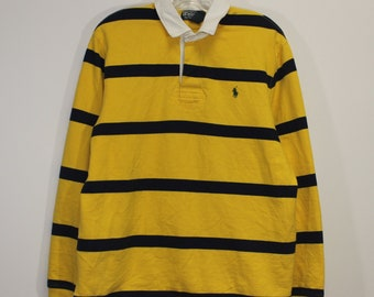 93682e0f9ed Vintage Polo Ralph Lauren Striped Rugby Shirt Size Large Yellow