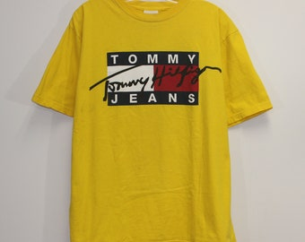 6ffbc113 Vintage Tommy Hilfiger Jeans Spell Out T-Shirt Size Medium