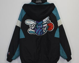 d24d24d5407 Vintage Charlotte Hornets NBA Players Collection Insulated Jacket Size XL  Black