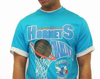 a275d4a0c75 Vintage Charlotte Hornets 1994 NBA T-Shirt Size Small