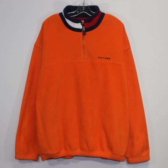 Tommy Hilfiger Pullover Sweater 1//4 Zip Red Collar Fleece Jacket Mens Size Large