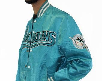 Vintage Florida Marlins Shain Satin Jacket Size Large