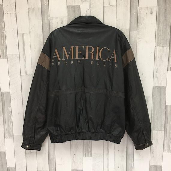 Vintage Perry Ellis Leather Jacket Size Large