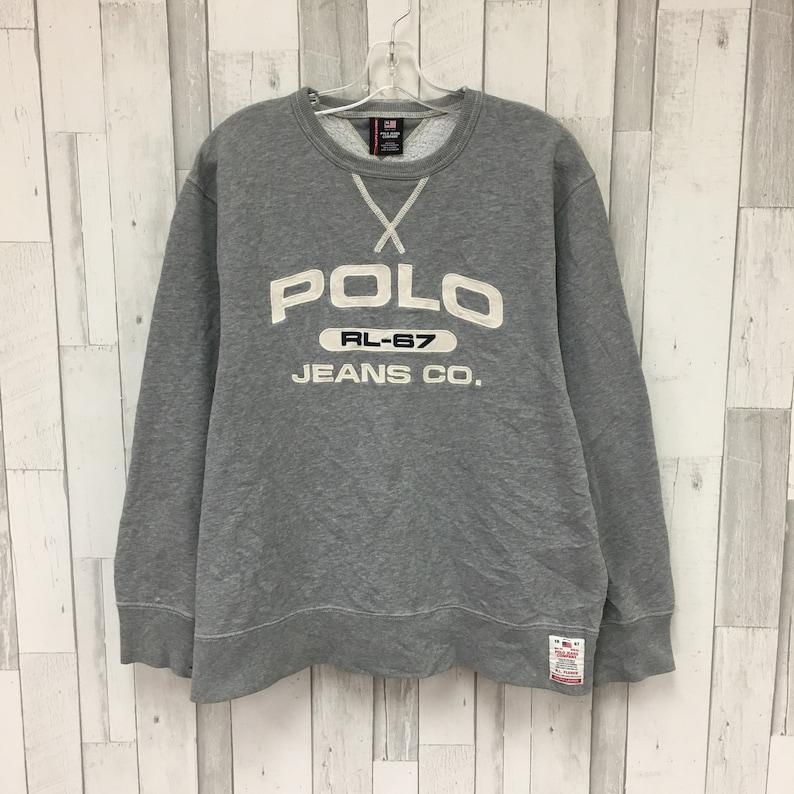 Polo Size Sweatshirt Crewneck Large Lauren Jeans Vintage Ralph EDI2W9H