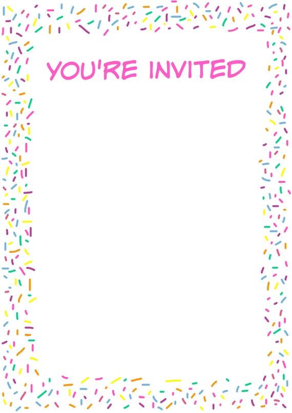 printable sprinkles invitation paper craft supplies etsy