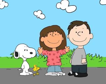 FREE PRINT & SHIPPING - Peanuts Snoopy Custom Portrait - Cartoon Family Portrait - Charlie Brown - Custom personalized portrait