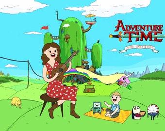 FREE PRINT & SHIPPING - Adventure Time Custom Portrait - Cartoon Family Portrait - Anniversary gift - Custom personalized portrait
