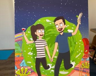 FREE PRINT & SHIPPING - Rick and Morty Custom Portrait - Cartoon Family Portrait - Anniversary gift - Custom personalized portrait