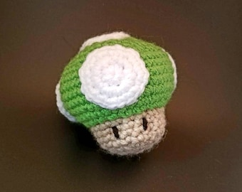 1 up Super Mario inspired crochet catnip cat toy amigurumi