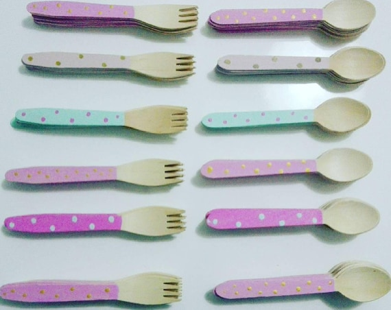 Wood Cutlery (reusable, hand painted)