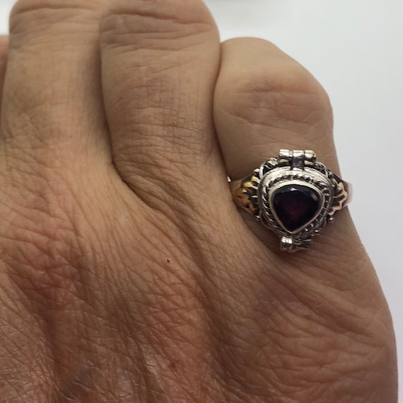 Poison Ring, Silver Garnet Poison Ring, Ring Size