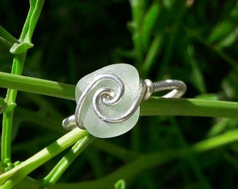 Vortex Pattern Sterling Silver Wire Wrapped Italian Pale Blue Sea Glass Ring: 925 Silver Gift For Her, Beach Birthday Party
