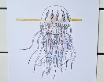 Jellyfish pen and watercolor art print