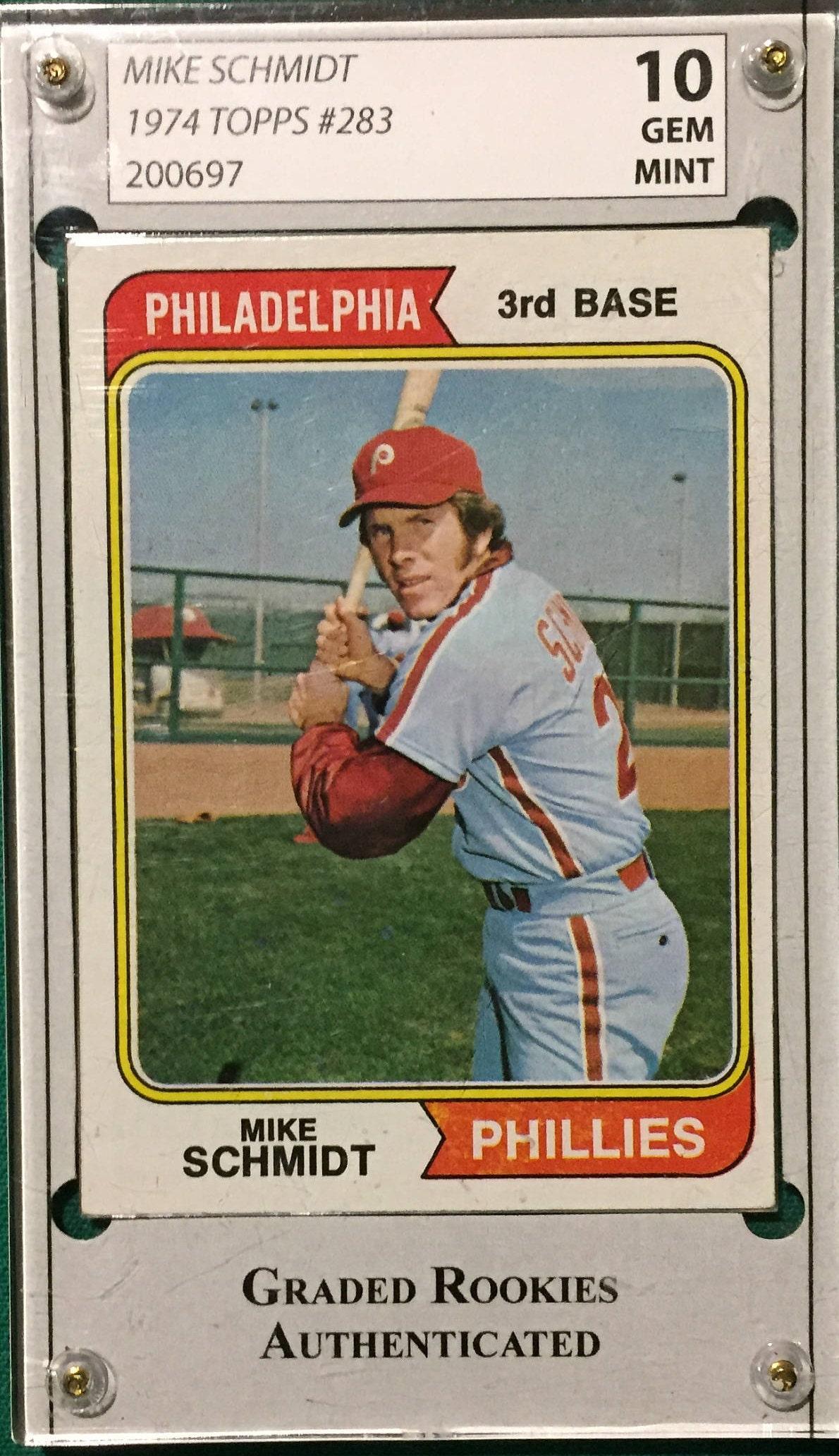 1974 Topps Mike Schmidt Philadelphia Phillies 283 Baseball Card Gem Mint 10