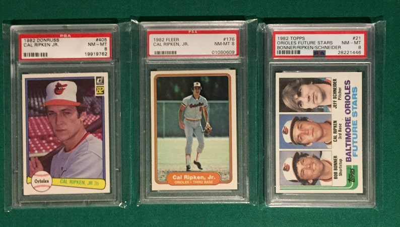 The Great Cal Ripken Rookie Card Triple Play Pack Psa 8 Card Lot Sharp