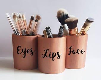 Rose Gold Decor,Makeup Brush Holder,Makeup Vanity Decor,Rose Desk  Accessories,Lipstick Holder,Makeup Pot,Makeup Storage,Make-Up Organizer b12415925f