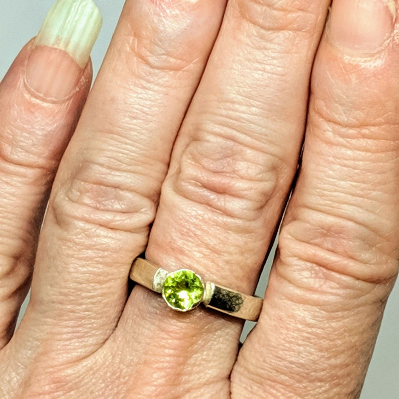 Handcrafted Peridot Sterling Silver Ring Size 5; August Birthstone