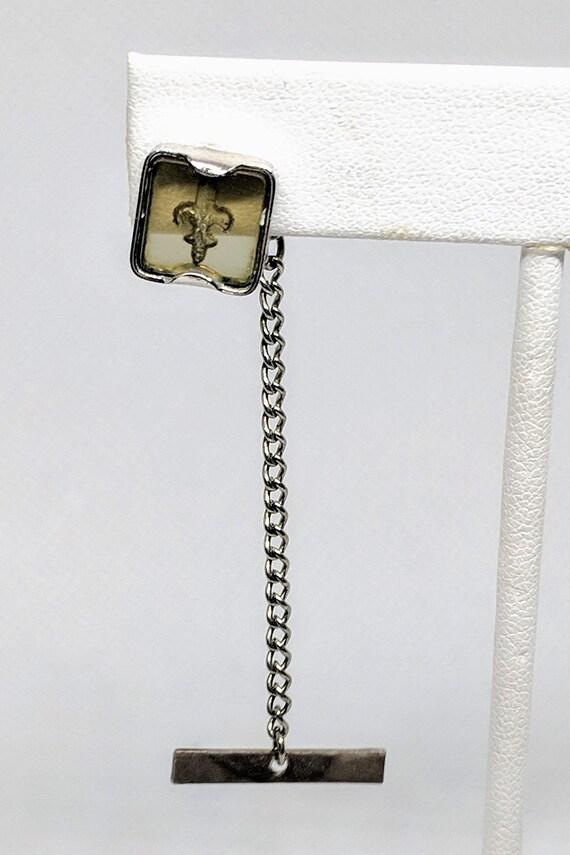 Vintage Fleur de Lis Tie Tack Reverse Carved Transparent Lucite