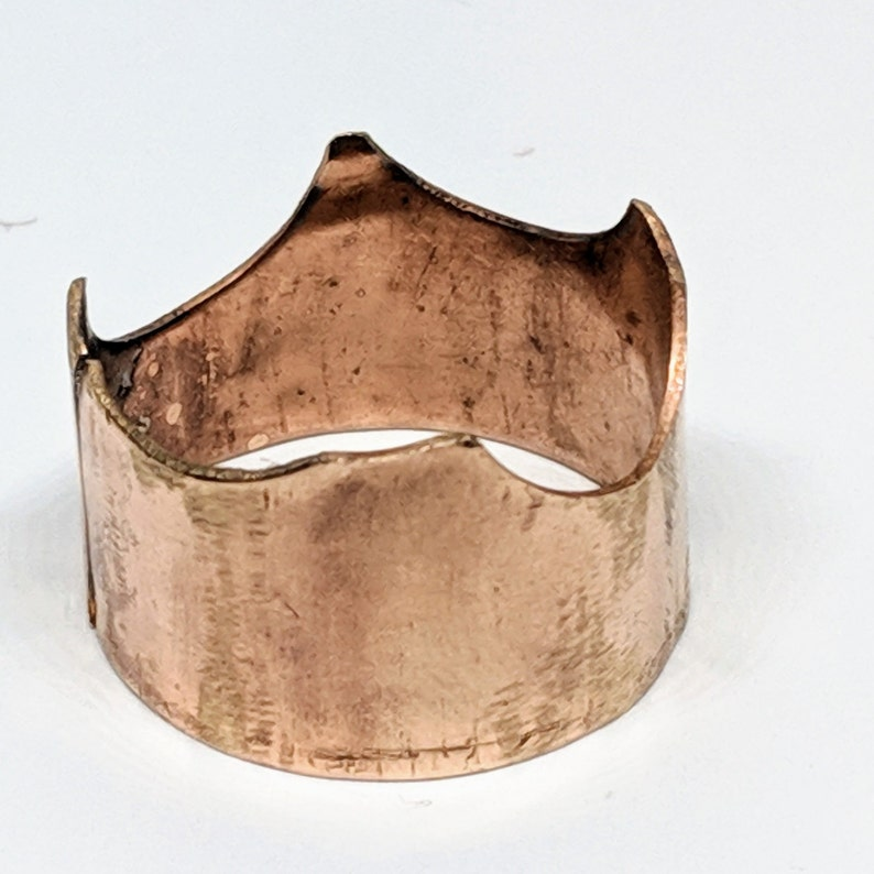 Crown Waves Wide Band Size 12 Handcrafted Bronze Ring