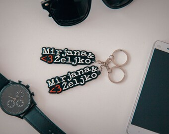 Pair of a key chains with custom names for couples