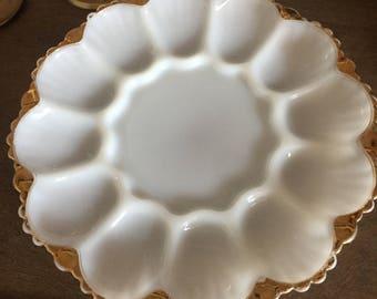 Vintage Milk Glass Gold Trim Egg Plate