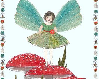 Potato printed Fairy on a toadstool greeting card