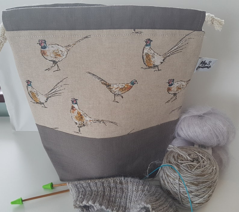 Woodland Themed Pheasant Knitting or Crochet Project Bag image 0