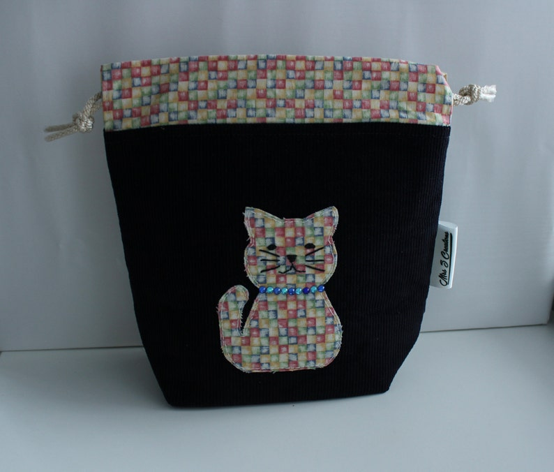 Applique Cat Knitting or Crochet Project Bag image 0