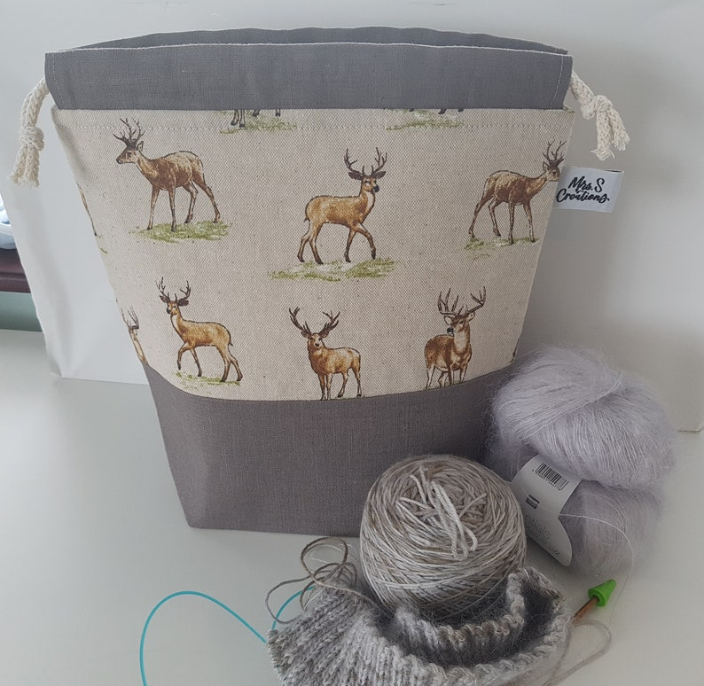 Woodland Themed Stag Knitting or Crochet Project Bag image 0