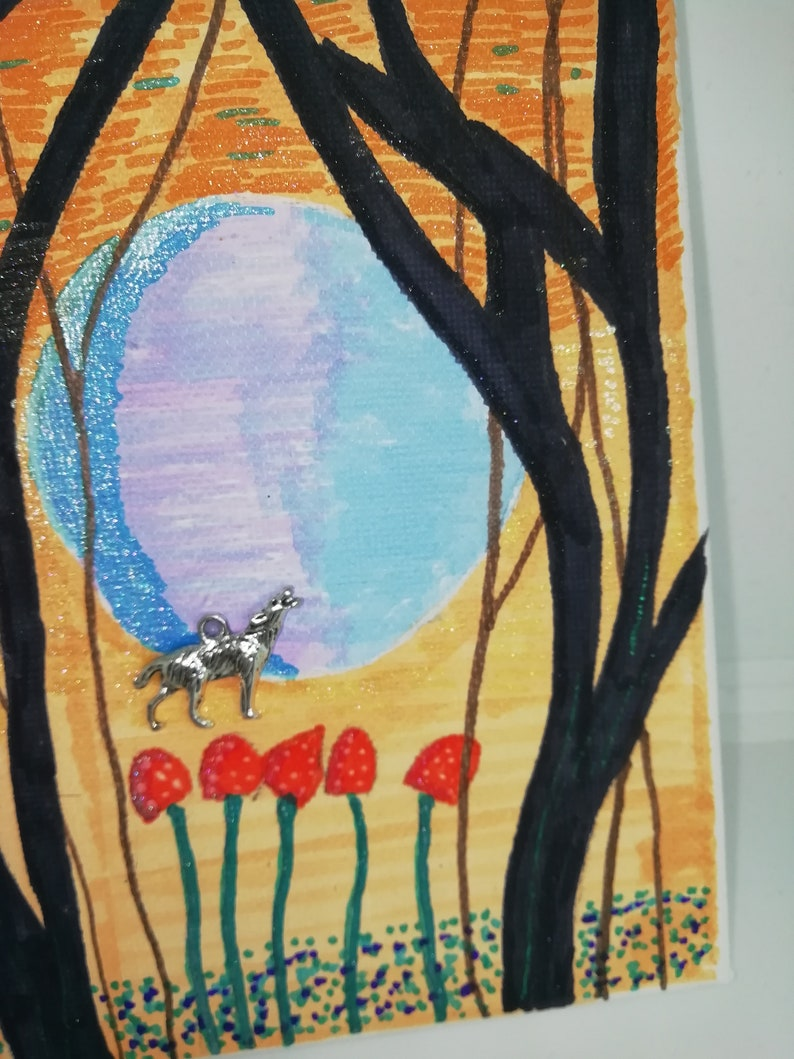 Wolf in the Woods Moon Hand Painted Picture Woodland
