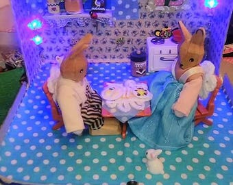 Bunny Rabbit in Kitchen Scene Diorama Miniature Miniatures Dollshouse Easter Night Light