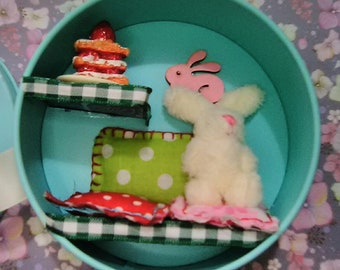 Bunny Rabbit in a little Tin Diorama Miniature Scene