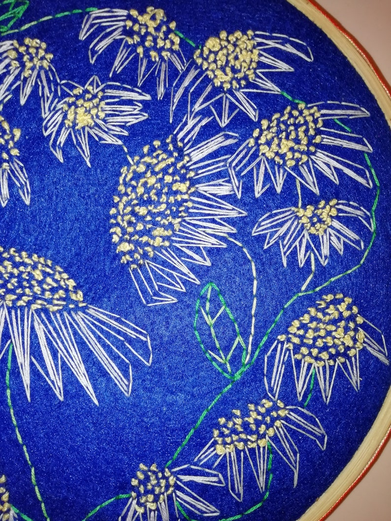 Daisy Daisies Original Embroidery Hoop Art Picture embroidered