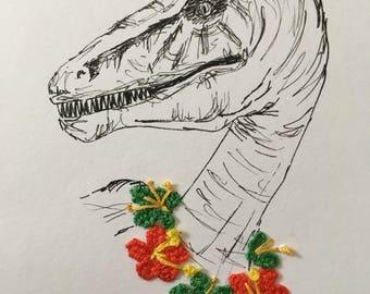 Small, framed, embroidered, pen and ink dinosaur- Eoraptor