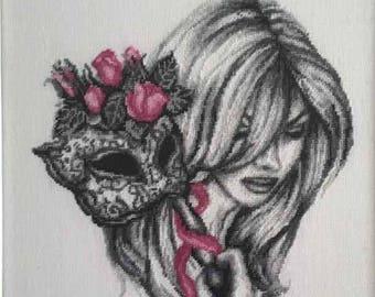 Handmade framed Gobelin/ needlepoint Woman with mask