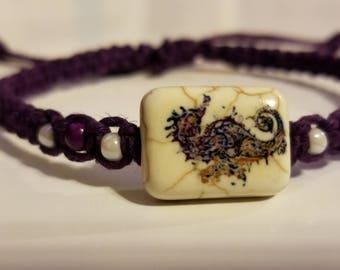 Purple Seahorse Hemp Bracelet