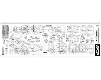 motorcycle frame blueprint, plan, sketch - 250 series tire - softail