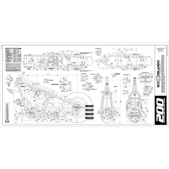 Motorcycle Frame Blueprint Plan Sketch 200 Series Tire   Etsy