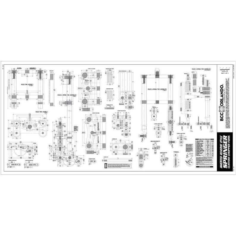 Motorcycle Springer Fork Blueprint, Plan, Sketch - Inverted Reverse Style