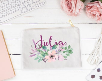 Custom Cosmetic Pouch, Pencil Case, Coin Purse, Zipper Case, Personalized Cosmetic Bag, Bridesmaids Gifts, Makeup Bag, Bridal Party Gift.