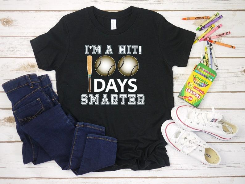 100 Days Of Kindergarten 100th Day Of School Boy Shirt Baseball Shirt 100 Days Of School T Shirt For Boys 100 Days Smarter