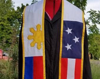 Embroidered Custom Graduation Stole Filipino American Philippines USA Sash - FREE U.S. SHIPPING