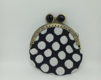 Wallet black and white polka dots