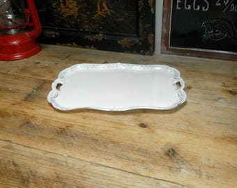 Shabby Chic cake plate/tray, floral pattern/china/1920s/British