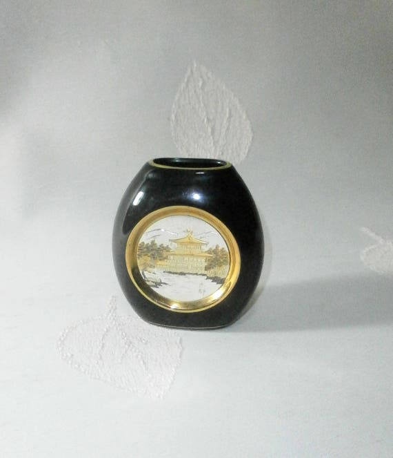 Small Vase The Art Of Chokin Expressive Design Gold Etsy