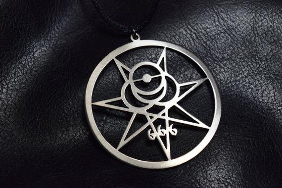 Crowley Secret Seal Thelema Sigil Illuminati Occult Symbol Magic 666  Necklace Charm Satanic Symbol Logo symbol pin satan satanic satanism